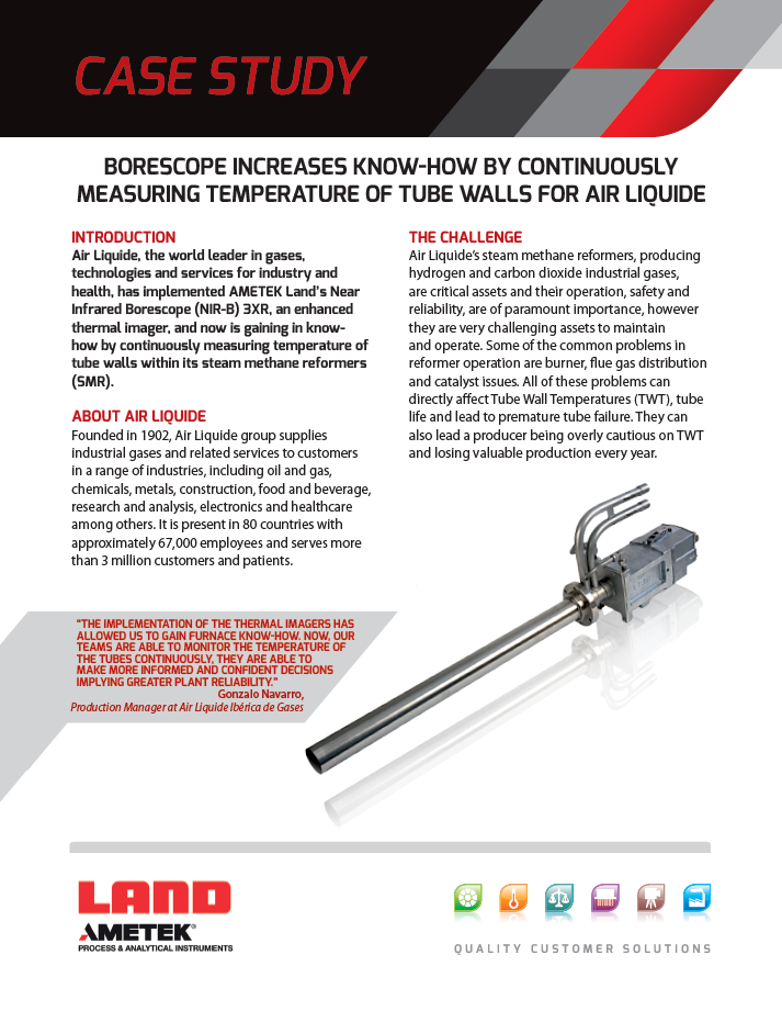 Borescope Increases Know-How by Continuously Measuring Temperature of Tube Walls for Air Liquide